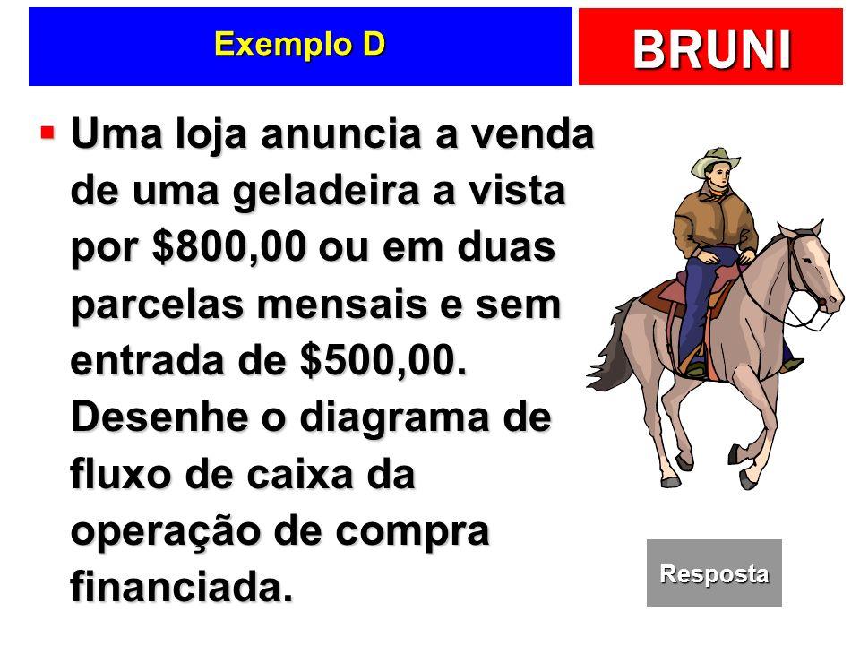 BRUNI Exemplo D Uma loja anuncia a venda de uma geladeira a vista por $800,00 ou em duas parcelas mensais e sem entrada de $500,00.