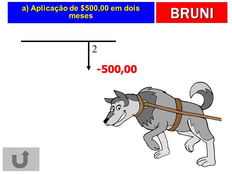 BRUNI a) Aplicação de $500,00 em dois meses 2 -500,00