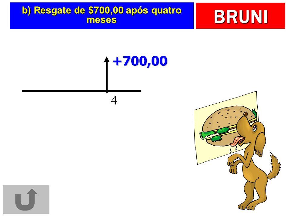 BRUNI b) Resgate de $700,00 após quatro meses 4 +700,00