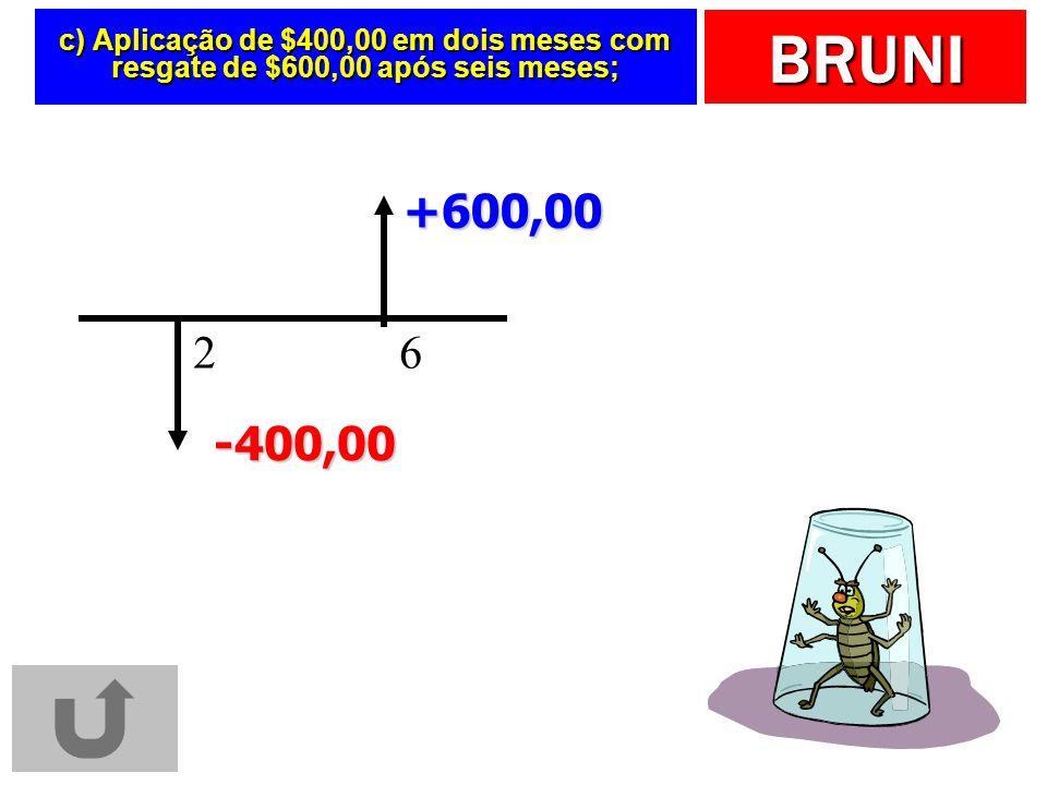 BRUNI c) Aplicação de $400,00 em dois meses com resgate de $600,00 após seis meses; 6 +600,00 2 -400,00