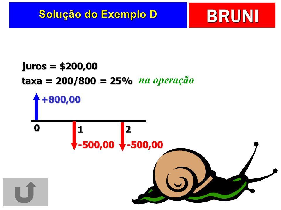 BRUNI Solução do Exemplo D +800,00 taxa = 200/800 = 25% juros = $200,00 na operação 201 -500,00-500,00