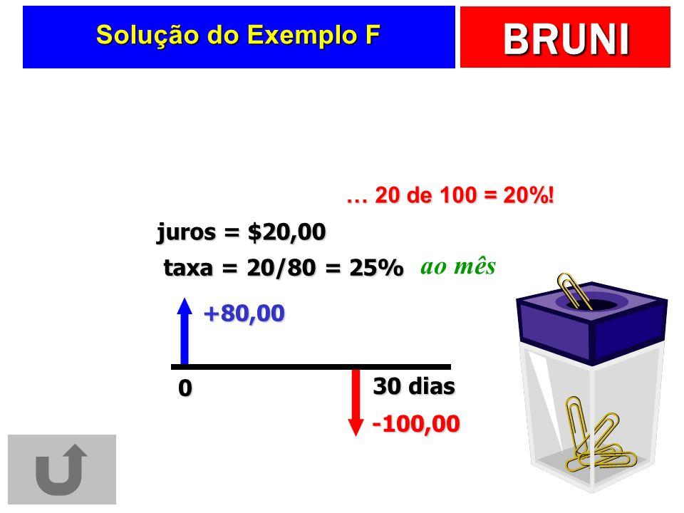BRUNI Solução do Exemplo F -100,00 +80,00 30 dias taxa = 20/80 = 25% juros = $20,00 ao mês … 20 de 100 = 20%.