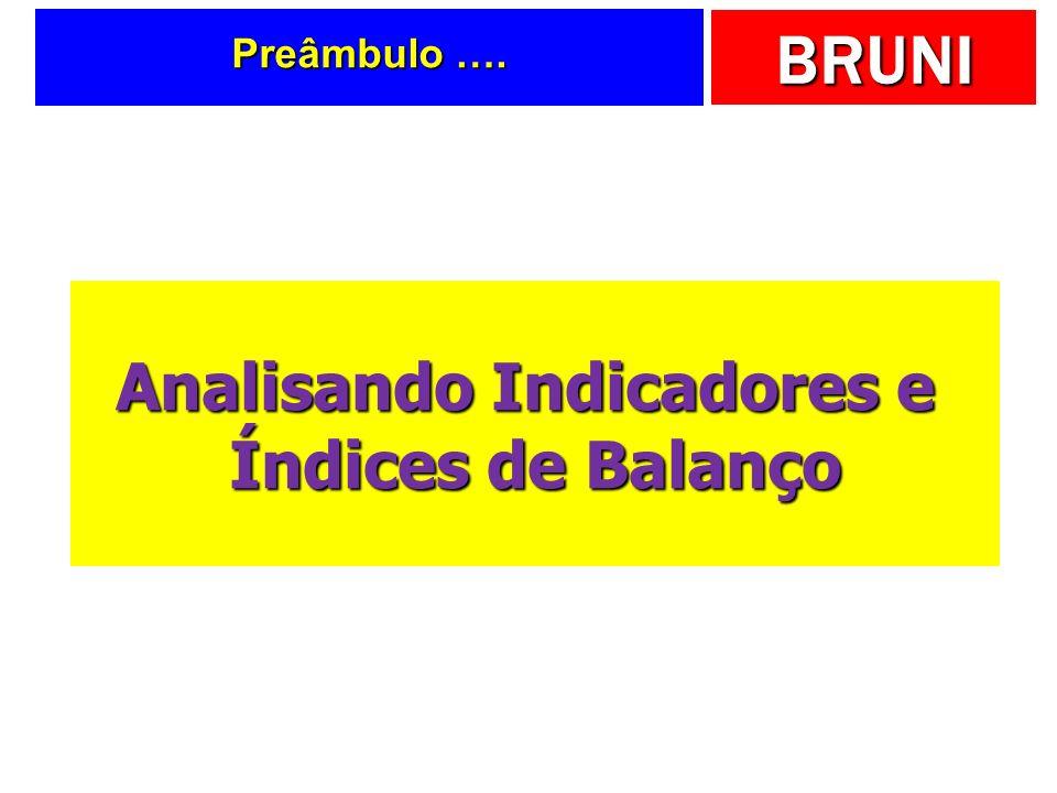 BRUNI Preâmbulo …. Analisando Indicadores e Índices de Balanço