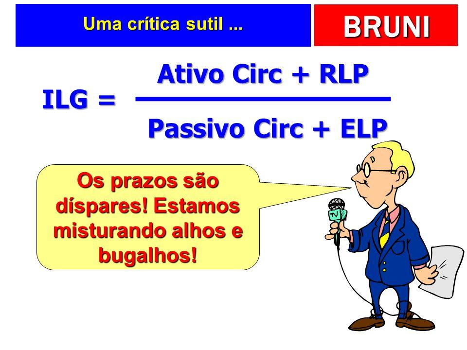 BRUNI Uma crítica sutil... ILG = Ativo Circ + RLP Passivo Circ + ELP Os prazos são díspares! Estamos misturando alhos e bugalhos!