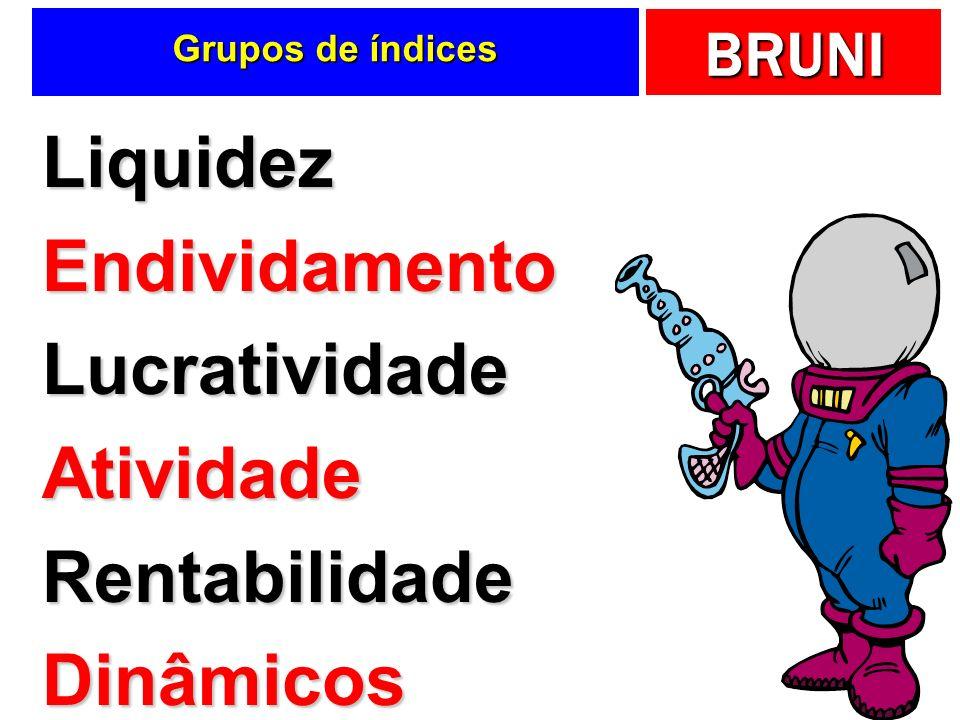 BRUNI Grupos de índices LiquidezEndividamentoLucratividadeAtividadeRentabilidadeDinâmicos