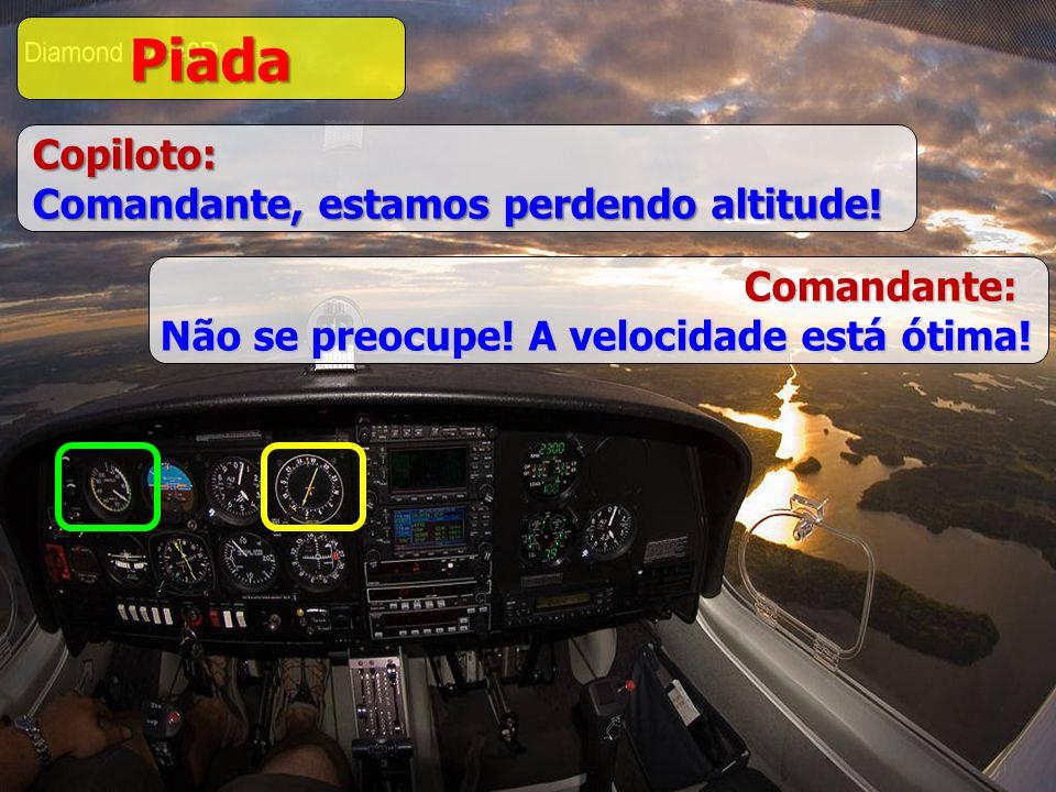 BRUNI Piada Copiloto: Comandante, estamos perdendo altitude! Comandante: Não se preocupe! A velocidade está ótima!