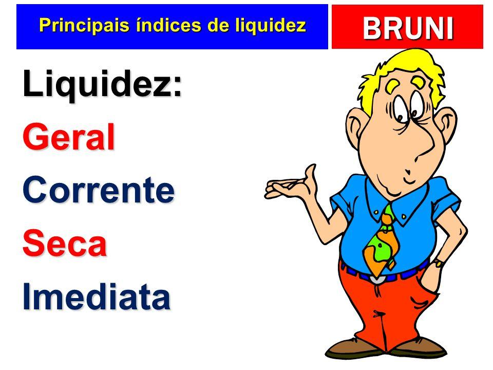 BRUNI Liquidez geral ILG = Ativo Circ + RLP Passivo Circ + ELP O que podemos converter em dinheiro O que precisaremos pagar.