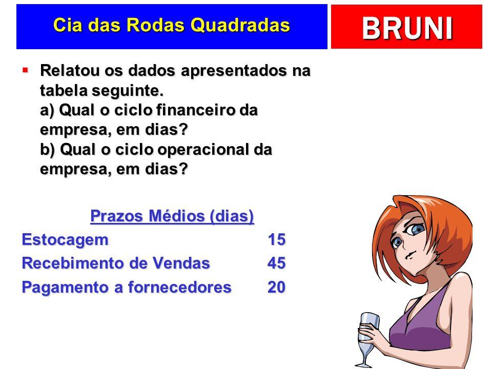 BRUNI Cia das Rodas Quadradas Relatou os dados apresentados na tabela seguinte.