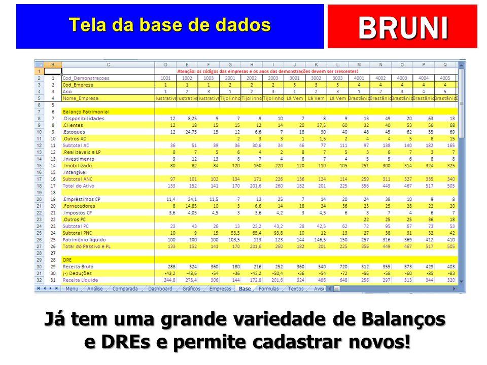 BRUNI Tela da base de dados Já tem uma grande variedade de Balanços e DREs e permite cadastrar novos!