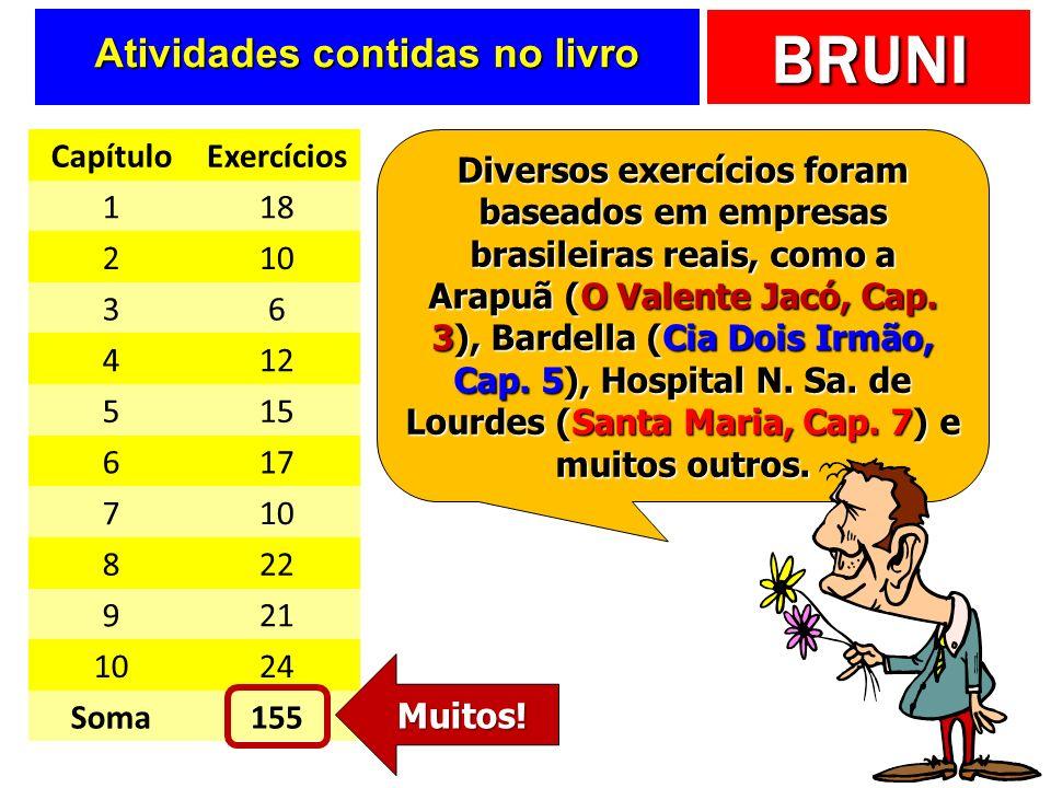 BRUNI Atividades contidas no livro CapítuloExercícios 118 210 36 412 515 617 710 822 921 1024 Soma155 Diversos exercícios foram baseados em empresas brasileiras reais, como a Arapuã (O Valente Jacó, Cap.