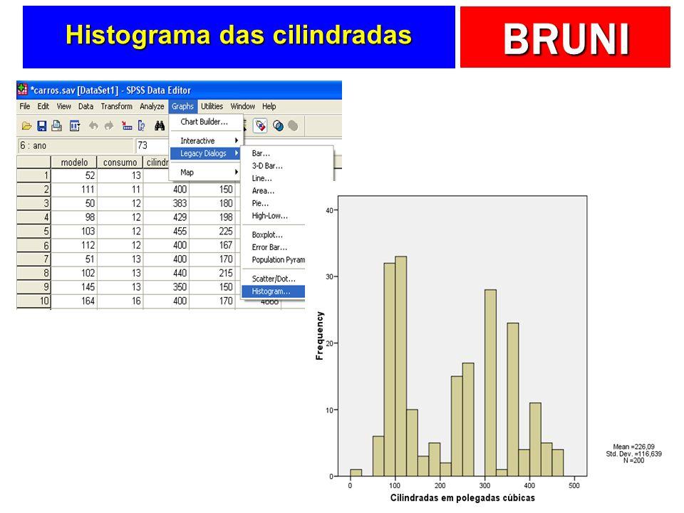 BRUNI Histograma das cilindradas