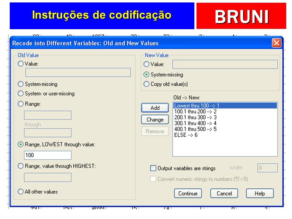 BRUNI Instruções de codificação