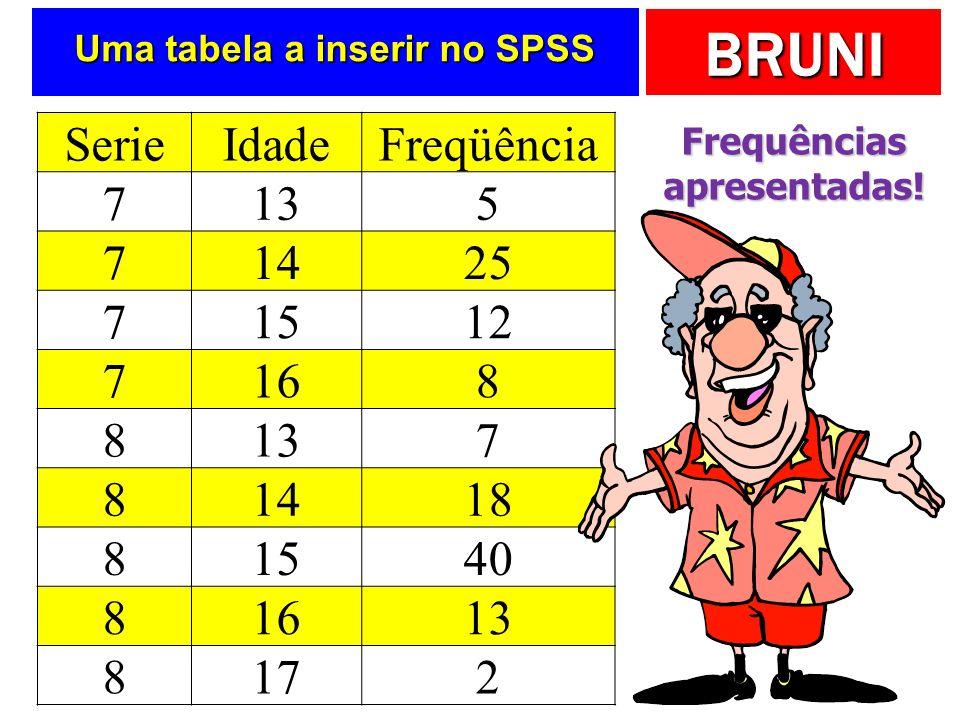 BRUNI Uma tabela a inserir no SPSS SerieIdadeFreqüência 7135 71425 71512 7168 8137 81418 81540 81613 8172 Frequências apresentadas!