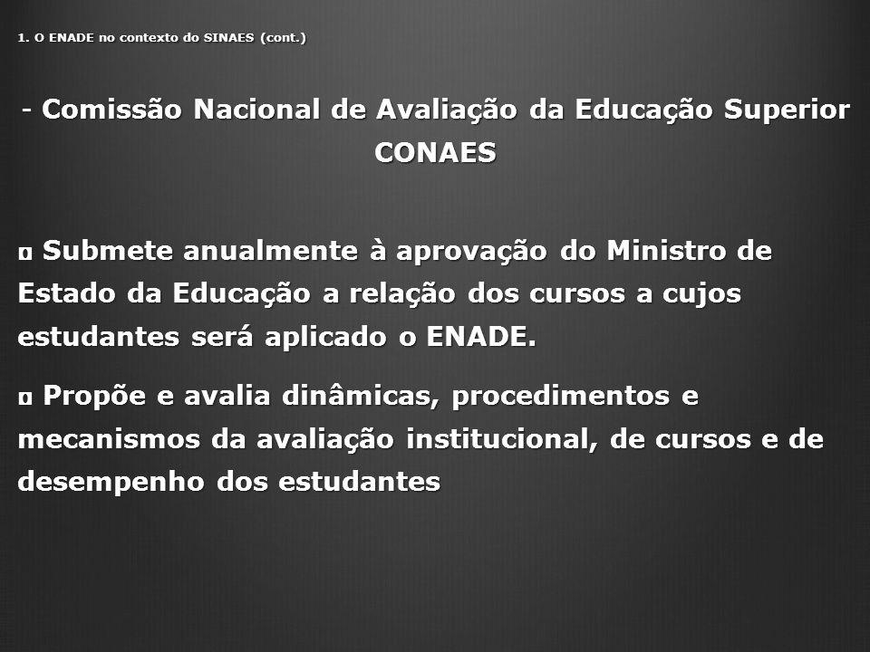 1. O ENADE no contexto do SINAES (cont.) - Comissão Nacional de Avaliação da Educação Superior CONAES Submete anualmente à aprovação do Ministro de Es