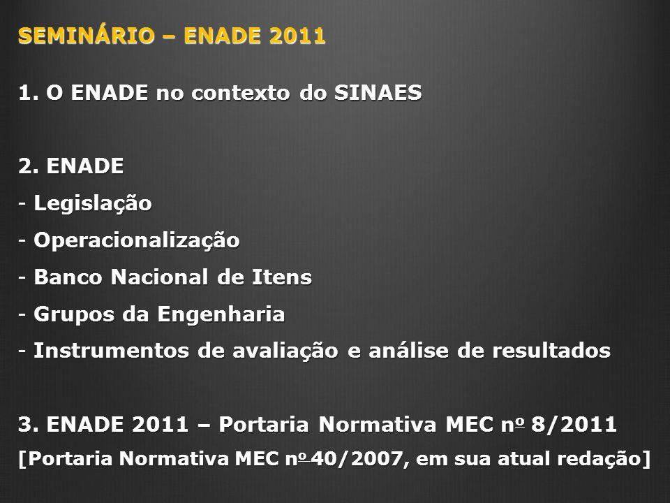 SEMINÁRIO – ENADE 2011 1. O ENADE no contexto do SINAES 2. ENADE - Legislação - Operacionalização - Banco Nacional de Itens - Grupos da Engenharia - I