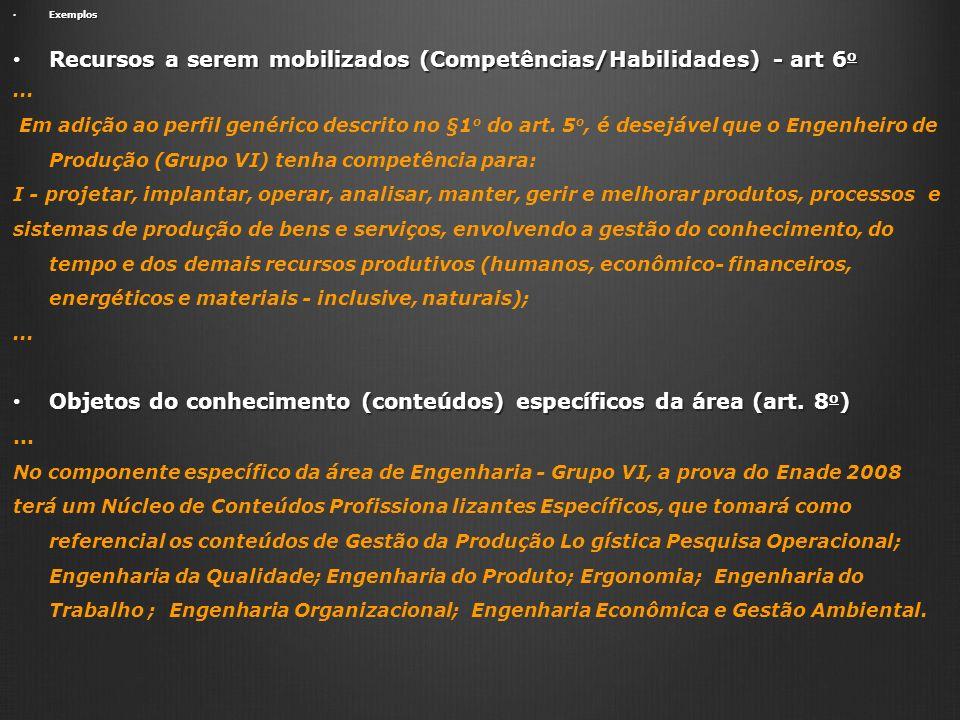Exemplos Exemplos Recursos a serem mobilizados (Competências/Habilidades) - art 6 o Recursos a serem mobilizados (Competências/Habilidades) - art 6 o.