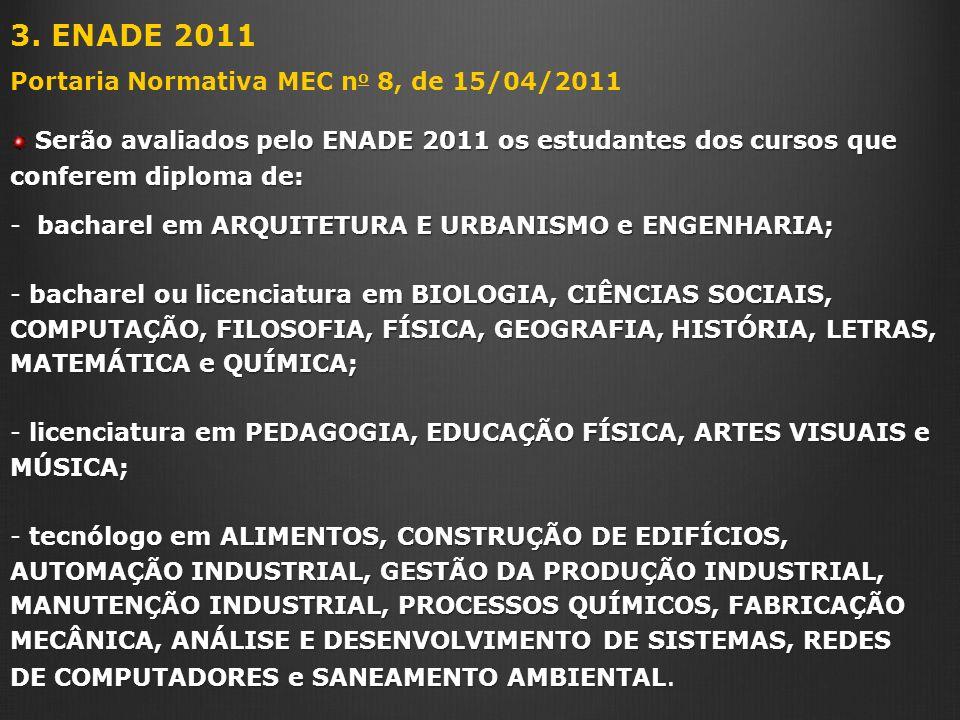 3. ENADE 2011 Portaria Normativa MEC n o 8, de 15/04/2011 Serão avaliados pelo ENADE 2011 os estudantes dos cursos que conferem diploma de: Serão aval