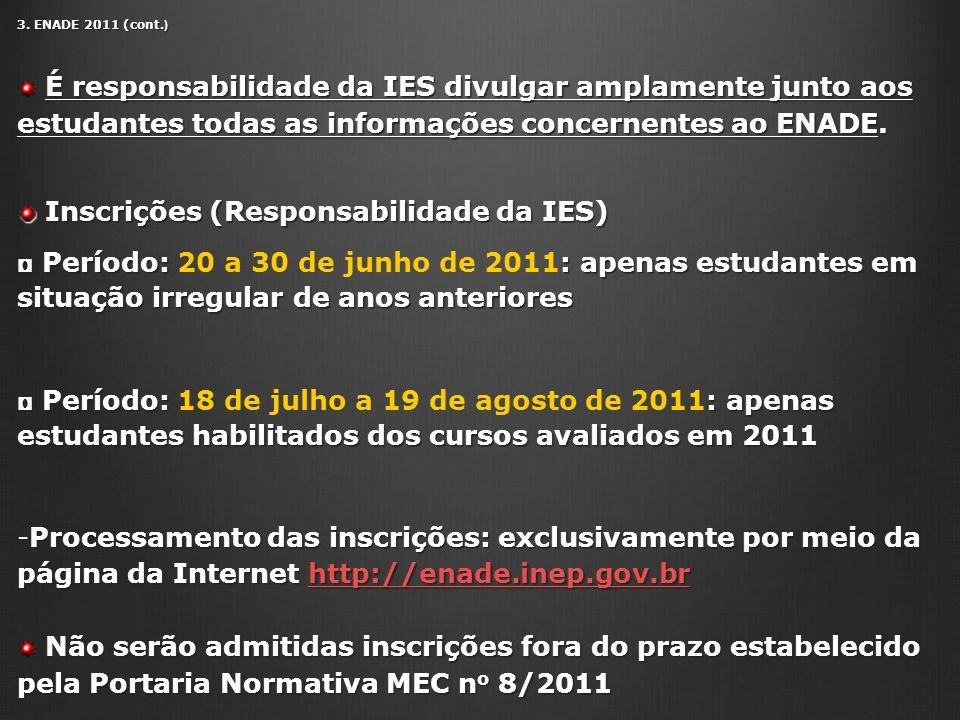 3. ENADE 2011 (cont. ) É responsabilidade da IES divulgar amplamente junto aos estudantes todas as informações concernentes ao ENADE. É responsabilida