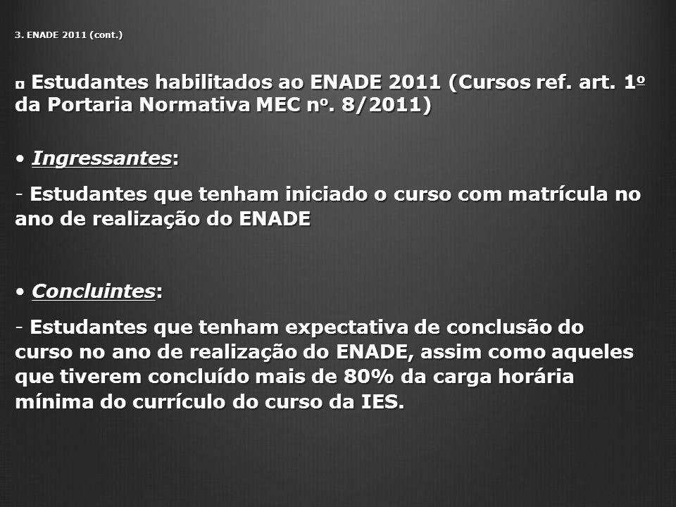 3. ENADE 2011 (cont.) Estudantes habilitados ao ENADE 2011 (Cursos ref. art. 1 o da Portaria Normativa MEC n o. 8/2011) Estudantes habilitados ao ENAD