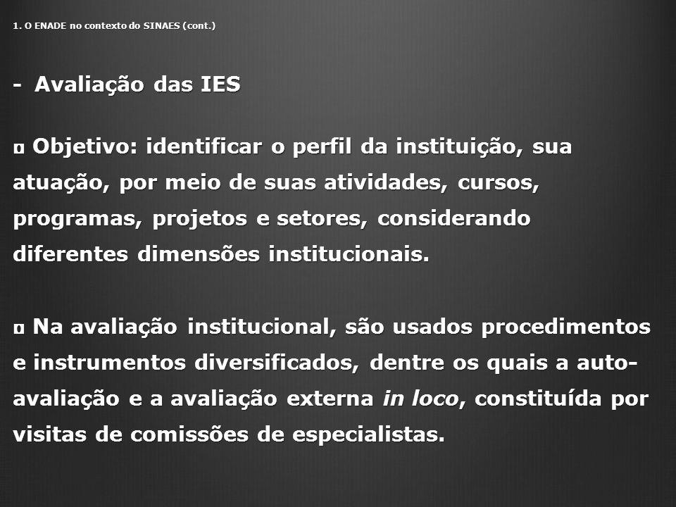 1. O ENADE no contexto do SINAES (cont.) - Avaliação das IES Objetivo: identificar o perfil da instituição, sua atuação, por meio de suas atividades,