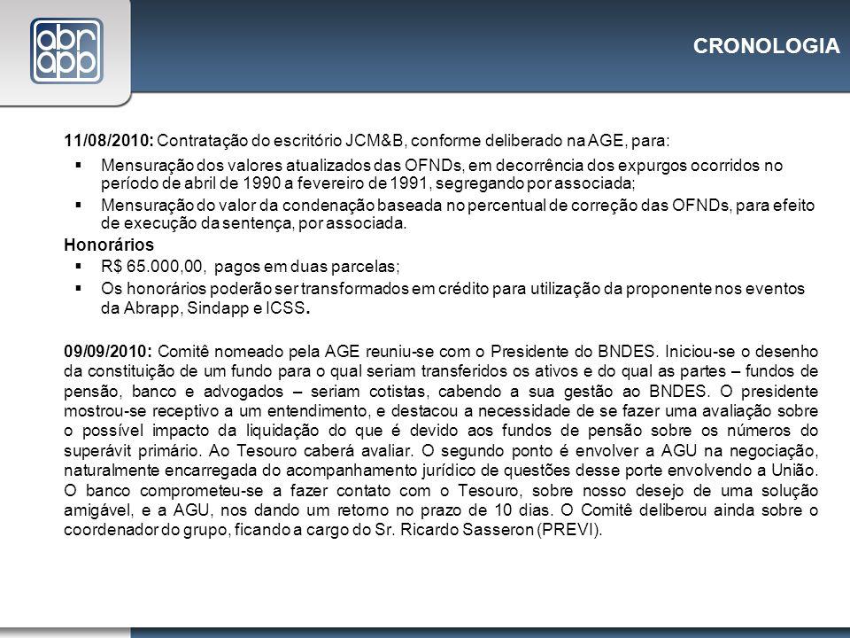 CRONOLOGIA 11/08/2010: Contratação do escritório JCM&B, conforme deliberado na AGE, para: Mensuração dos valores atualizados das OFNDs, em decorrência