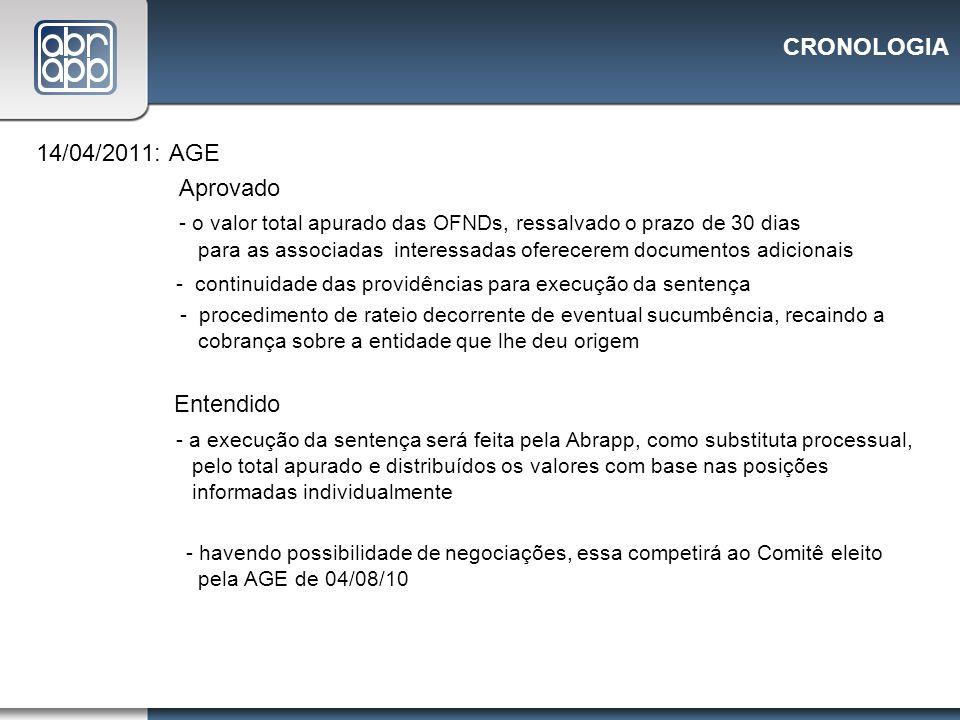 CRONOLOGIA 14/04/2011: AGE Aprovado - o valor total apurado das OFNDs, ressalvado o prazo de 30 dias para as associadas interessadas oferecerem docume