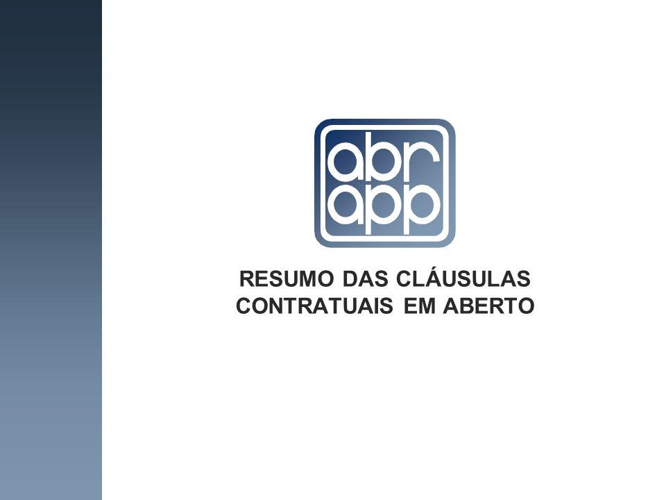 RESUMO DAS CLÁUSULAS CONTRATUAIS EM ABERTO
