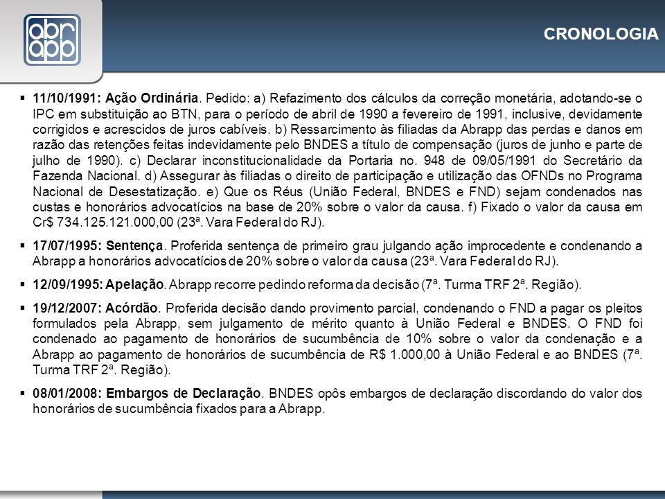 CRONOLOGIA 11/10/1991: Ação Ordinária. Pedido: a) Refazimento dos cálculos da correção monetária, adotando-se o IPC em substituição ao BTN, para o per