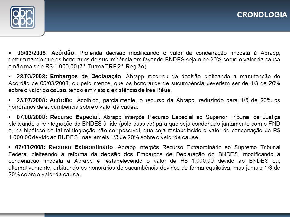 CRONOLOGIA 05/03/2008: Acórdão. Proferida decisão modificando o valor da condenação imposta à Abrapp, determinando que os honorários de sucumbência em