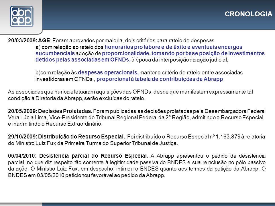 CRONOLOGIA 20/03/2009: AGE: Foram aprovados por maioria, dois critérios para rateio de despesas a) com relação ao rateio dos honorários pro labore e d