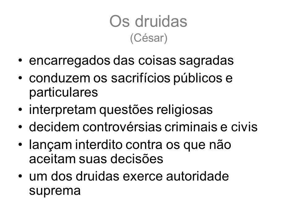 Os druidas (César) encarregados das coisas sagradas conduzem os sacrifícios públicos e particulares interpretam questões religiosas decidem controvérs