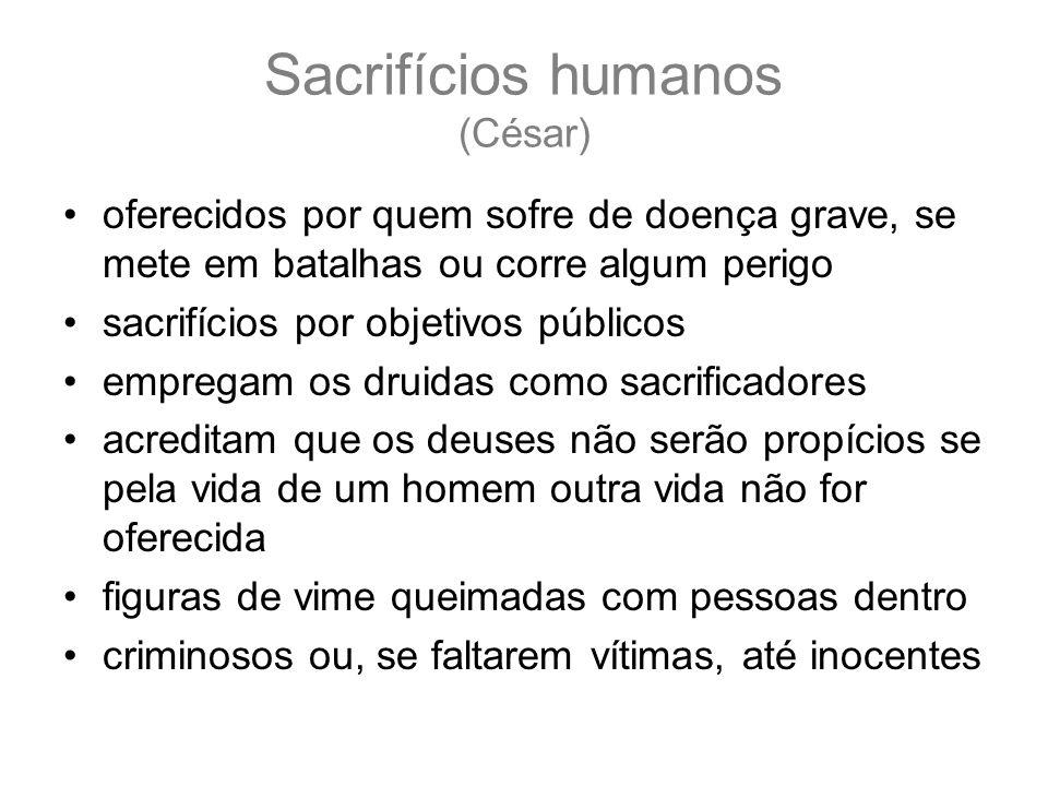 Sacrifícios humanos (César) oferecidos por quem sofre de doença grave, se mete em batalhas ou corre algum perigo sacrifícios por objetivos públicos em