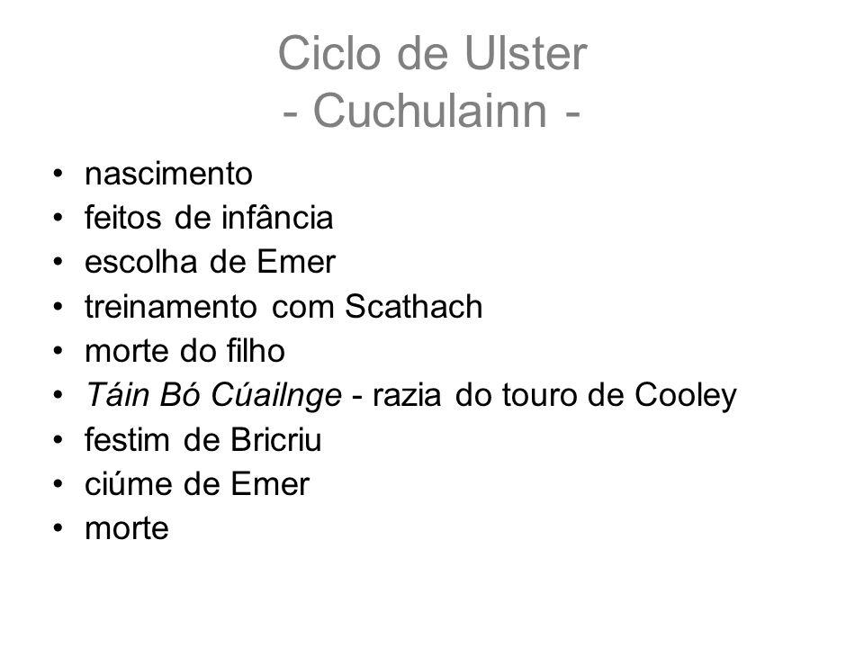 Ciclo de Ulster - Cuchulainn - nascimento feitos de infância escolha de Emer treinamento com Scathach morte do filho Táin Bó Cúailnge - razia do touro