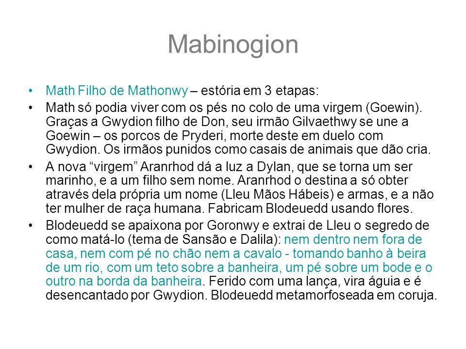 Mabinogion Math Filho de Mathonwy – estória em 3 etapas: Math só podia viver com os pés no colo de uma virgem (Goewin). Graças a Gwydion filho de Don,