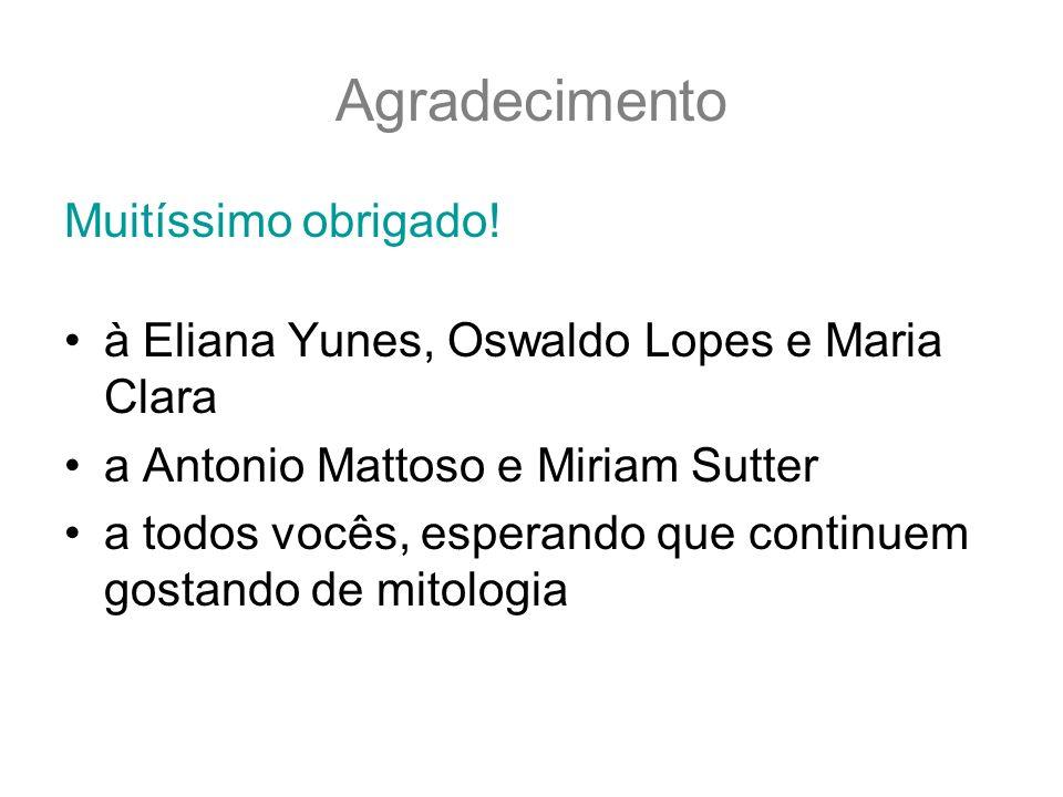 Agradecimento Muitíssimo obrigado! à Eliana Yunes, Oswaldo Lopes e Maria Clara a Antonio Mattoso e Miriam Sutter a todos vocês, esperando que continue