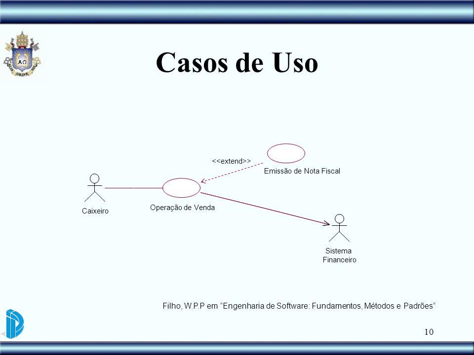 10 Casos de Uso Emissão de Nota Fiscal Caixeiro Operação de Venda Sistema Financeiro > Filho, W.P.P em Engenharia de Software: Fundamentos, Métodos e