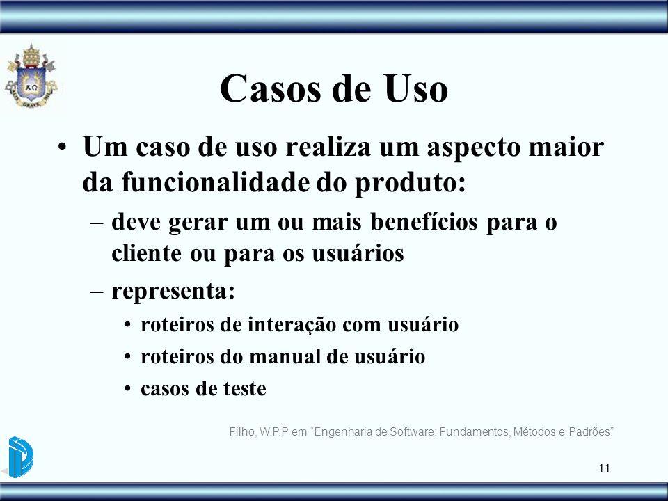 11 Casos de Uso Um caso de uso realiza um aspecto maior da funcionalidade do produto: –deve gerar um ou mais benefícios para o cliente ou para os usuá
