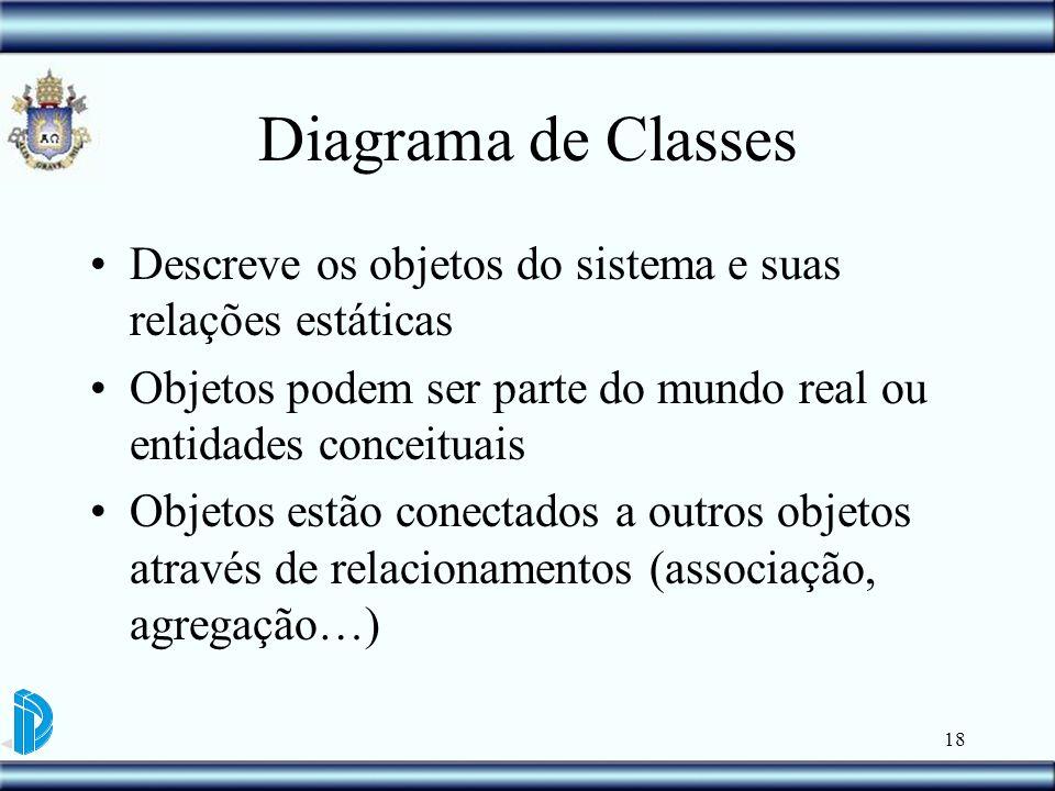 18 Diagrama de Classes Descreve os objetos do sistema e suas relações estáticas Objetos podem ser parte do mundo real ou entidades conceituais Objetos