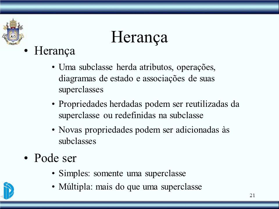 21 Herança Uma subclasse herda atributos, operações, diagramas de estado e associações de suas superclasses Propriedades herdadas podem ser reutilizad