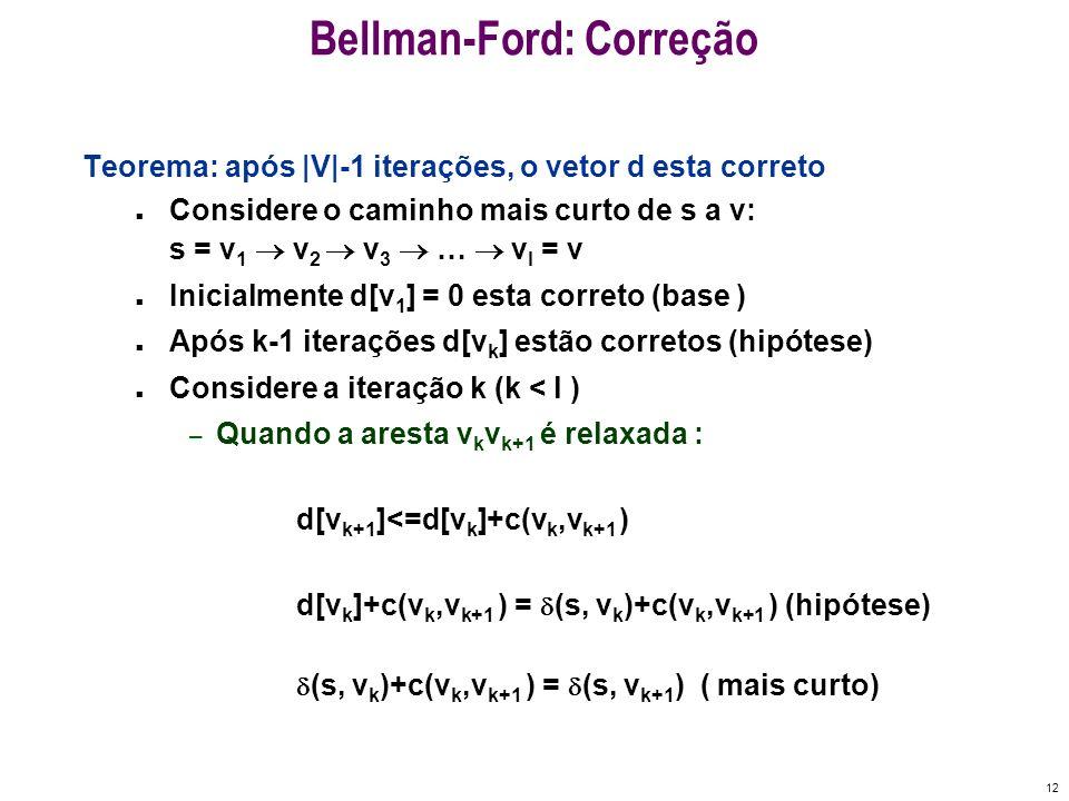 12 Bellman-Ford: Correção Teorema: após |V|-1 iterações, o vetor d esta correto n Considere o caminho mais curto de s a v: s = v 1 v 2 v 3 … v l = v n