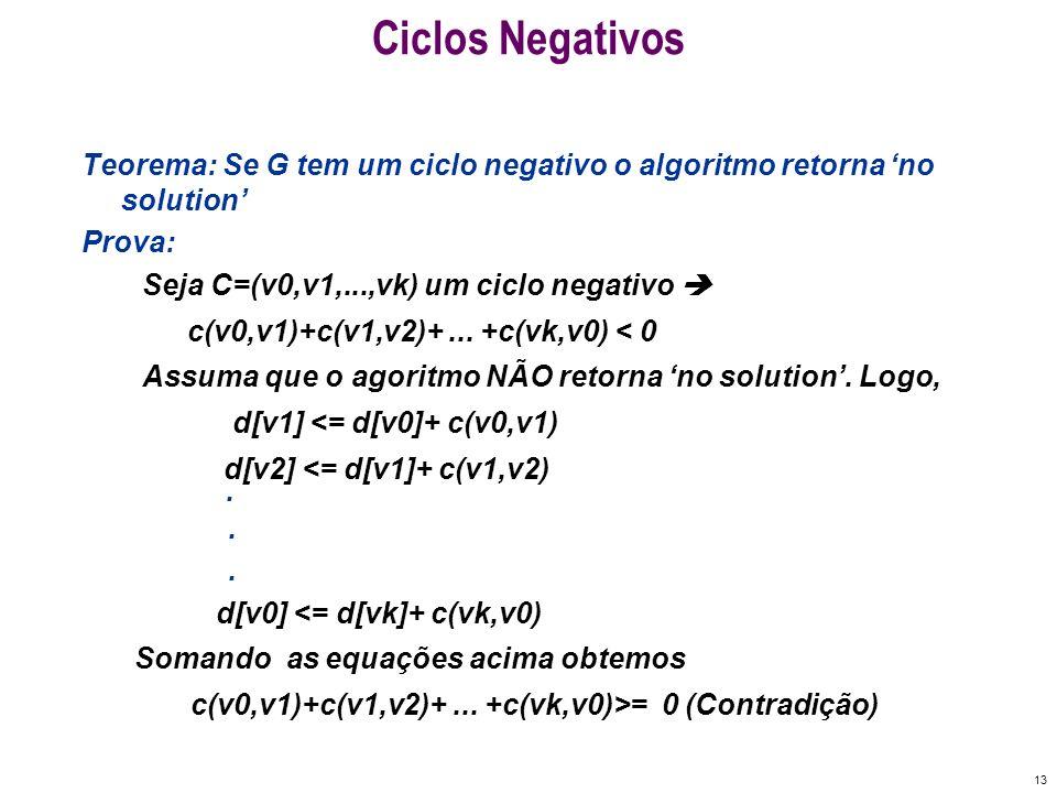 13 Ciclos Negativos Teorema: Se G tem um ciclo negativo o algoritmo retorna no solution Prova: Seja C=(v0,v1,...,vk) um ciclo negativo c(v0,v1)+c(v1,v