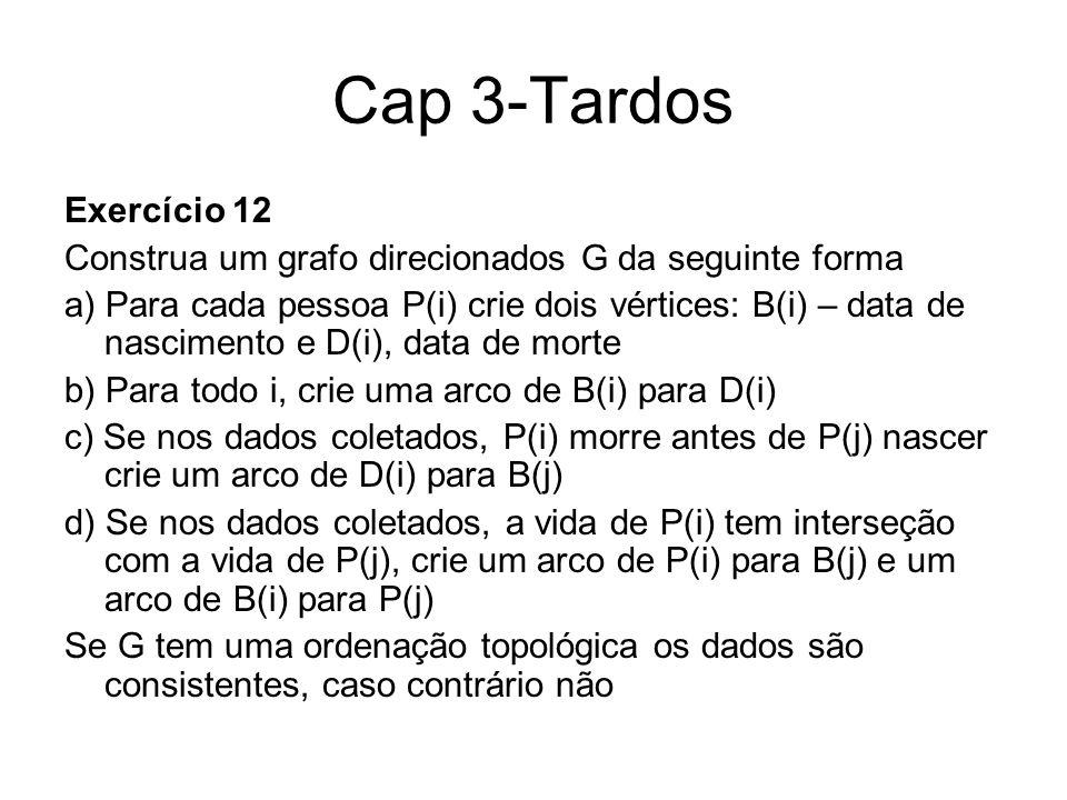 Cap 3-Tardos Exercício 12 Construa um grafo direcionados G da seguinte forma a) Para cada pessoa P(i) crie dois vértices: B(i) – data de nascimento e