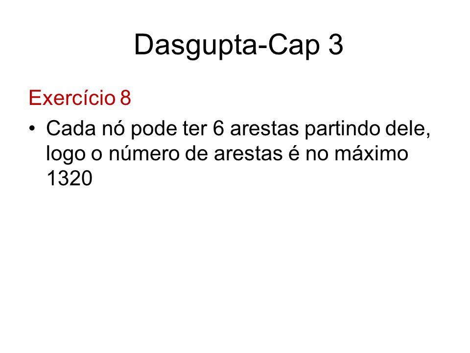 Dasgupta-Cap 3 Exercício 8 Cada nó pode ter 6 arestas partindo dele, logo o número de arestas é no máximo 1320