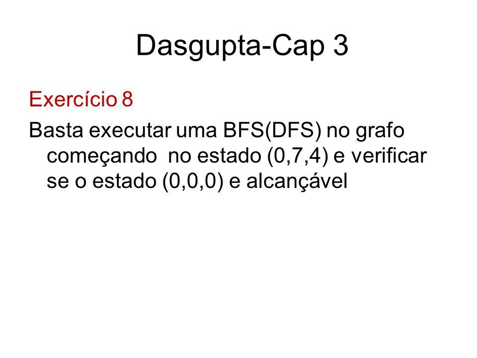 Dasgupta-Cap 3 Exercício 8 Basta executar uma BFS(DFS) no grafo começando no estado (0,7,4) e verificar se o estado (0,0,0) e alcançável