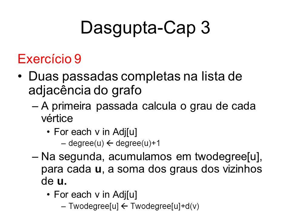 Dasgupta-Cap 3 Exercício 9 Duas passadas completas na lista de adjacência do grafo –A primeira passada calcula o grau de cada vértice For each v in Ad