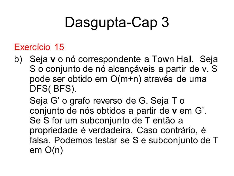 Dasgupta-Cap 3 Exercício 15 b)Seja v o nó correspondente a Town Hall. Seja S o conjunto de nó alcançáveis a partir de v. S pode ser obtido em O(m+n) a