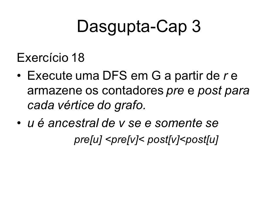 Dasgupta-Cap 3 Exercício 18 Execute uma DFS em G a partir de r e armazene os contadores pre e post para cada vértice do grafo. u é ancestral de v se e