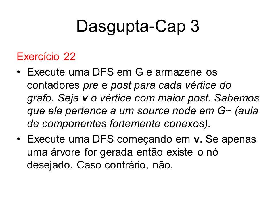 Dasgupta-Cap 3 Exercício 22 Execute uma DFS em G e armazene os contadores pre e post para cada vértice do grafo. Seja v o vértice com maior post. Sabe