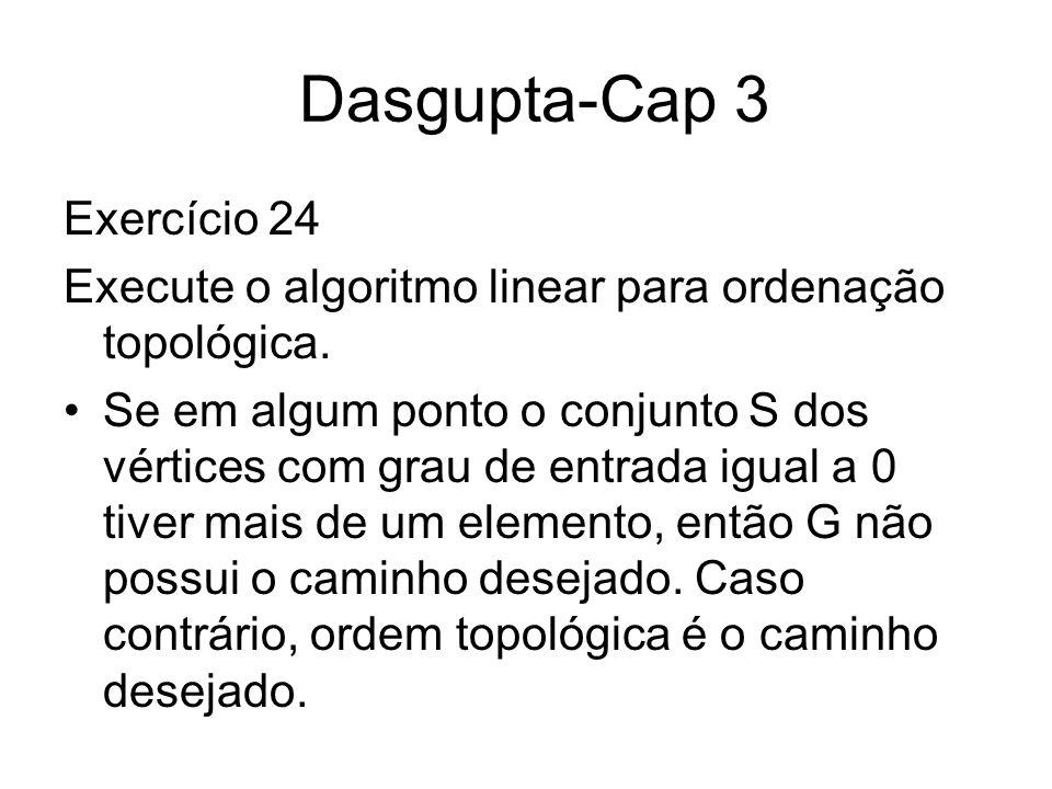 Dasgupta-Cap 3 Exercício 24 Execute o algoritmo linear para ordenação topológica. Se em algum ponto o conjunto S dos vértices com grau de entrada igua