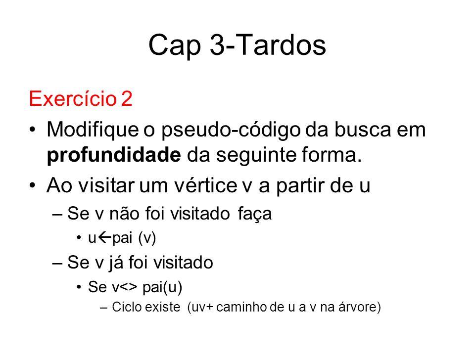 Cap 3-Tardos Exercício 2 Modifique o pseudo-código da busca em profundidade da seguinte forma. Ao visitar um vértice v a partir de u –Se v não foi vis